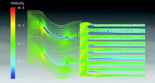 Fig. 1. Velocity contours showing a uniform flow through the cooling fins.